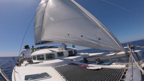 Catamarano in navigazione nel nord Sardegna